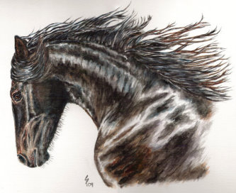 Friesian horse painting
