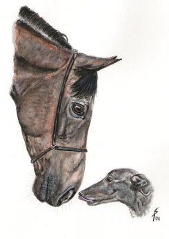 horse greyhound painting