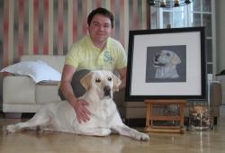 Labrador 'Biene' and her owner looking very pleased with Biene's portrait.