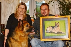 German Shepherd Kai's owners are very happy with the portrait