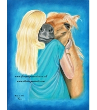 Horse and Young Woman pastel portrait