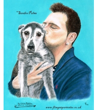 Dog and Man Portrait in pastels