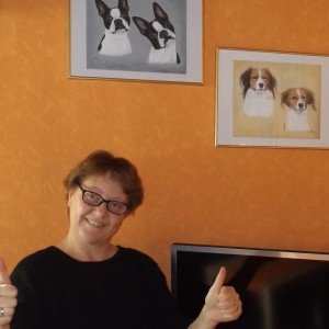 Happy Customer with dog portraits