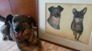 Dog Trixi with her portrait