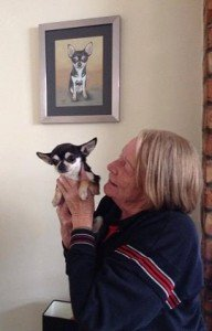 Chihuahua with owner and portrait