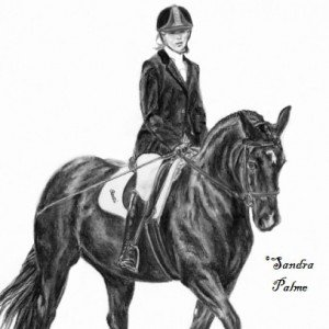 Welsh Cob mare& rider drawing charcoal