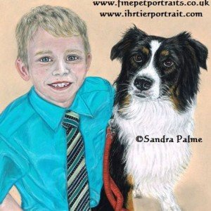 Boy & Border Collie drawing