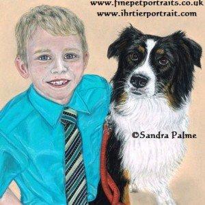 Boy & Border Collie drawing
