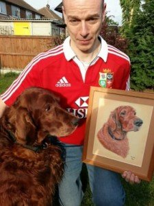 Irish Setter Murphy with portrait
