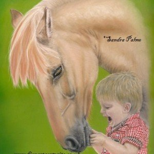 Little boy & his pony pastel portrait